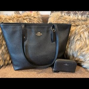Coach black tote and matching wallet